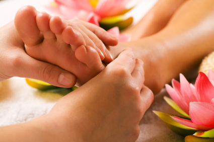 Reflexology with flowers
